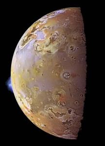 Color image of Io taken by Galileo with a 140 km high plume visible on the limb from the eruption of Pillan Patera – one of many active volcanoes on Io. (NASA/JPL)