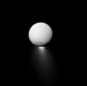 A Cassini view of Enceladus and its southern polar plume taken on April 2, 2013 that would be the target of the proposed LIFE sample return mission. (NASA/JPL-Caltech/Space Science Institute)
