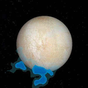 This graphic shows the location of water vapor detected over Europa's south pole that provides the first strong evidence of water plumes erupting off Europa's surface, in observations taken by NASA's Hubble Space Telescope in December 2012. (NASA/ESA/L. Roth)