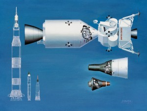 A 1964 drawing comparing NASA's manned spacecraft: Apollo (top), Gemini (middle) and Mercury (bottom). In the lower left is a comparison of these spacecaft''s launch vehicles: (left to right) The Saturn V, Titan II and Atlas.