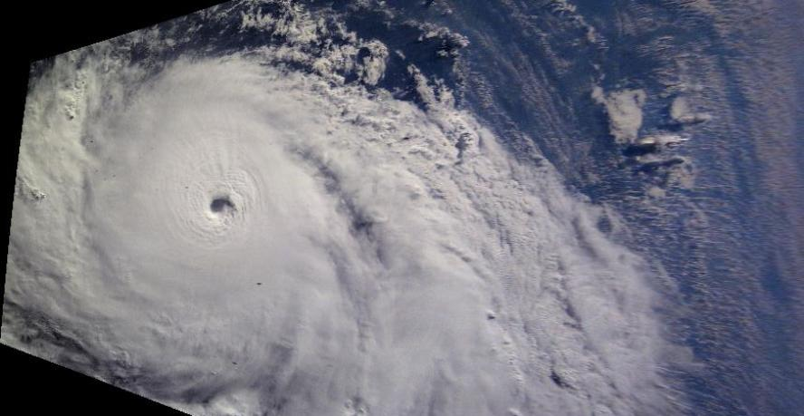 ISS Image of a cyclone processed for analysis. (A.J. LePage/Visidyne)