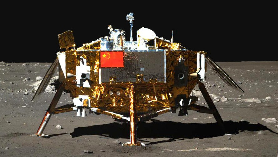 Photo of the Chang'e-3 moon lander taken by the panoramic camera on the Yutu moon rover on December 22, 2013. (Xinhua)