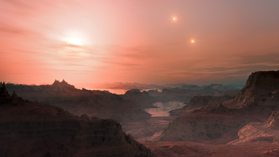 An artist's rendition of what sunset might look like on Gliese 667Cc. The host star, Gliese 667C, orbits a distant stellar binary (Gliese 667AB), seen in the background. (ESO/L. Calçada)
