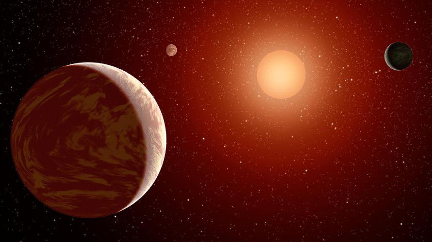 Artist conception of three planets orbiting a young red dwarf. (NASA/JPL-Caltech)