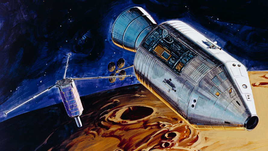 Artist depiction of the deployment of the Apollo PFS. (NASA)