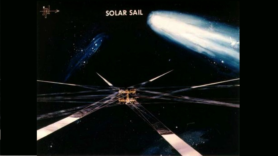 The Heliogyro solar sail concept that had been proposed to rendezvous with Comet Halley in 1986. (NASA/JPL)