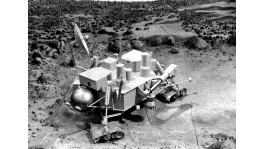 "A concept for a ""Viking 3"" that included treads for a limited roving capability. (NASA/JPL)"