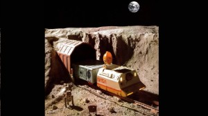 A picture of a lunar railroad diorama designed by Alan Cerny and built by Bob Hayden that appeared in the April 1978 issue of Model Railroader. (MRR/Kalmbach Publishing)