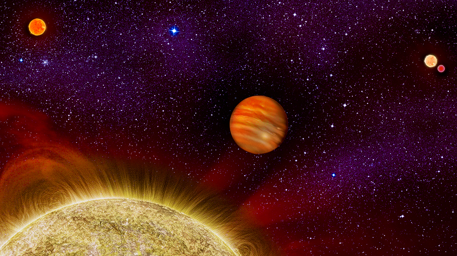 Artist's conception of the four stars and giant planet of the 30 Ari star system. (Karen Teramura/UH IfA)