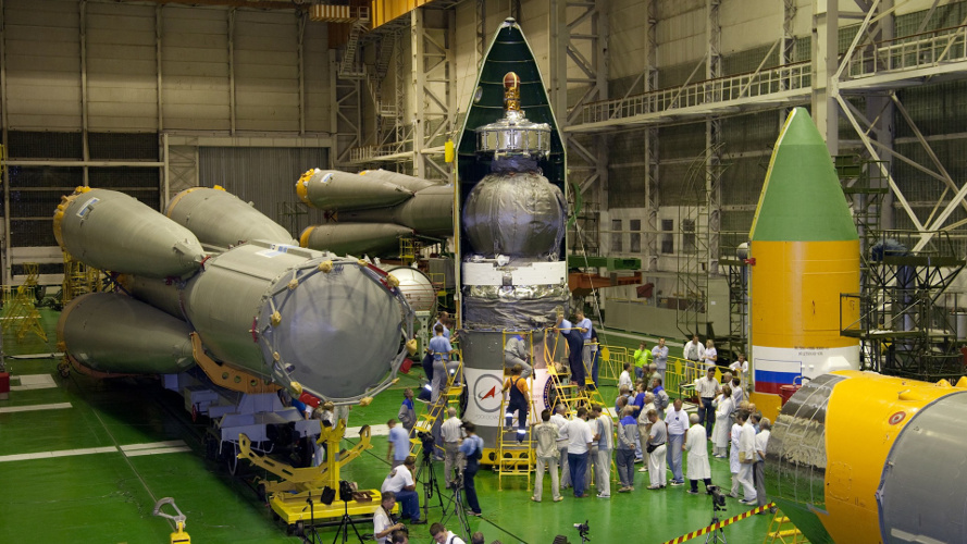 Foton M-2, shown here being prepared for launch in 2004, was based on the Vostok spacecraft first flown in 1960. (TsSKB Progress)