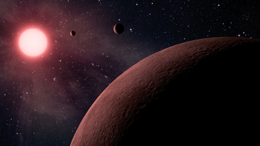 An artist's depiction of the planets of Kepler 42 - a near twin of Barnard's Star. (NASA/JPL)