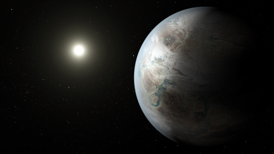 This artist's concept depicts one possible appearance of the planet Kepler-452b, the first near-Earth-size world to be found in the habitable zone of star that is similar to our sun. (NASA/JPL-Caltech/T. Pyle)