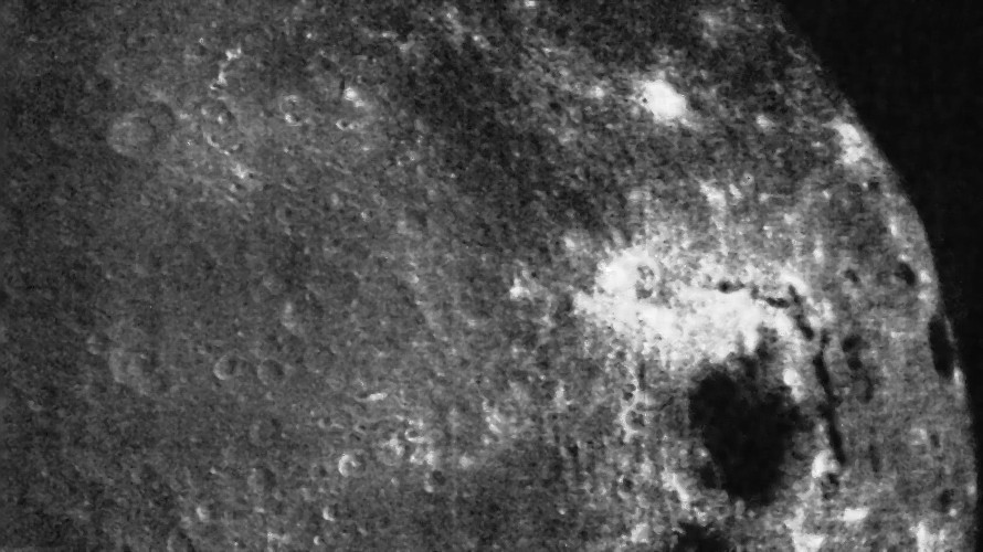 Frame number 28 acquired by Zond 3 during its flyby of the Moon on July 20, 1965 showing the previously unseen parts of the lunar far side. (Sternberg Astronomical Institute)