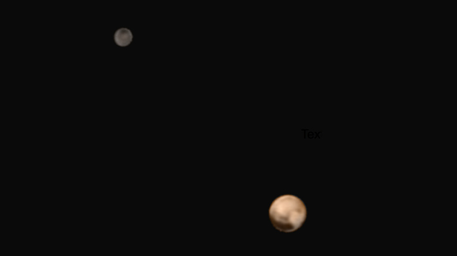 A view of Pluto and Charon Acquired by New Horizons on July 1, 2015. (NASA/JHU-APL/SwRI).