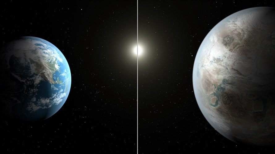 This artist's concept compares Earth (left) to Kepler-452b, which is about 60 percent larger in diameter. (NASA/JPL-Caltech/T. Pyle)