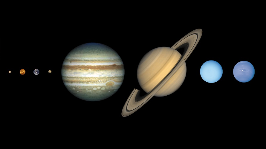 This image shows the solar system's eight recognized planets in order of increasing distance from the Sun to a common size scale. (Lunar and Planetary Institute)