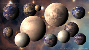 Artist conceptions of various Earth-size planets. (PHL/ESA-Bubble/NASA)
