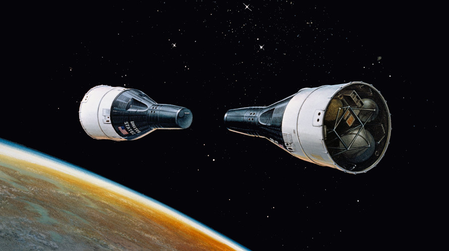 Artist's concept of the Gemini 6 and 7 rendezvous mission. (NASA)