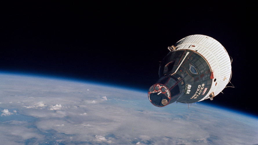 A view of Gemini 7 from Gemini 6 during the first ever rendezvous in space on December 5, 1965. (NASa)