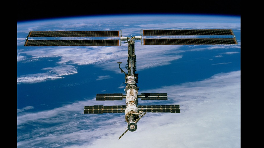 A view of the ISS from the departing STS-97 on December 9, 2000. (NASA)