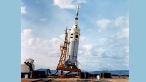 The Apollo-Little Joe II A-004 as it appeared on the launch pad at WSMR before its launch on January 20, 1966. (NASA)