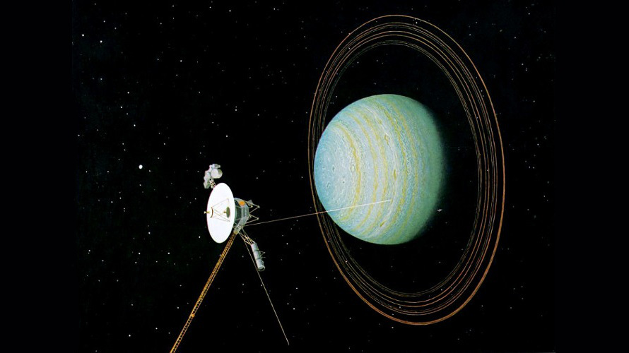 A painting from 1981 by Don Davis depicting the Voyager 2 flyby of Uranus in 1986. (NASA)