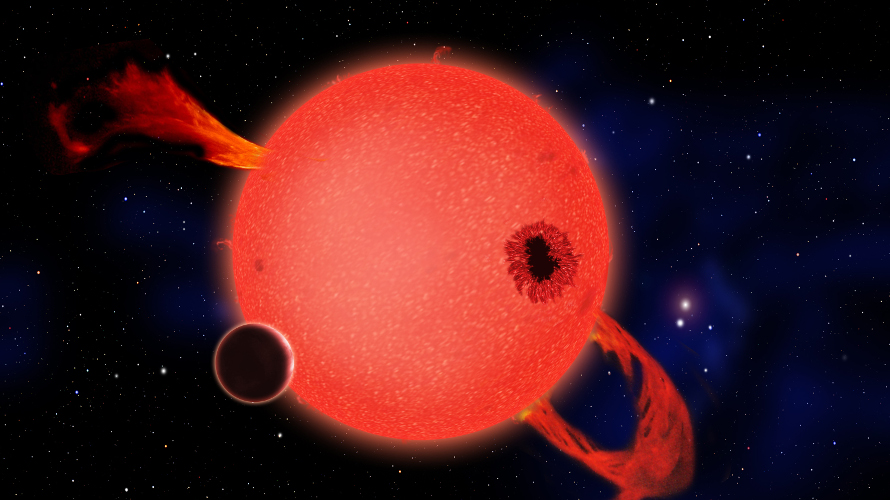 An artist's depiction of a planet transiting a red dwarf star. (CfA)