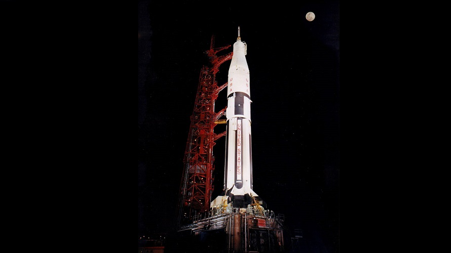 The first Apollo-Saturn IB on the pad at LC-34 before the start of the AS-201 mission. (NASA)