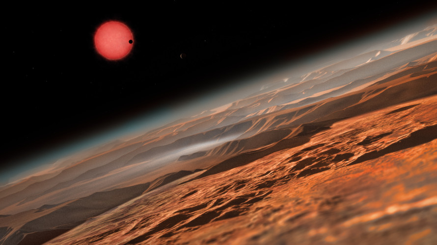 Artist's impression of the ultracool dwarf star TRAPPIST-1 from close to one of its planets. (ESO/M. Kornmesser)
