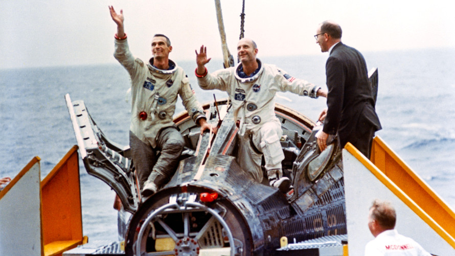 The crew of Gemini 9 after their spacecraft was hoisted aboard the USS Wasp following the successful conclusion of their mission. (NASA)