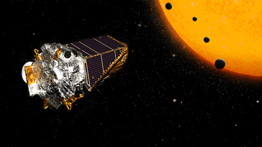 An artist's depiction of Kepler observing the transits of the four-planet K2-72 system. (NASA/JPL)