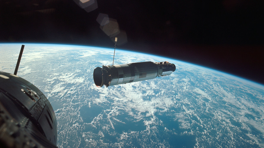 View of the Agena GATV from Gemini 10 as rendezvous was being completed. (NASA)