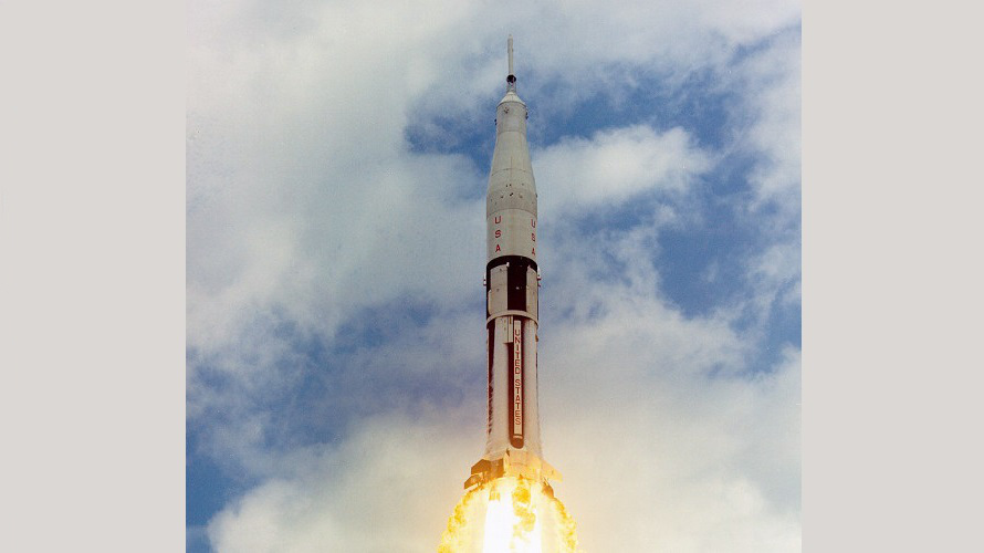 The launch of Apollo AS-202 from LC-34 at Cape Kennedy, FL on August 25, 1966. (NASA)