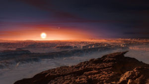This artist's impression shows a view of the surface of the planet Proxima b orbiting the red dwarf star Proxima Centauri, the closest star to the Solar System. The double star Alpha Centauri AB also appears in the image to the upper-right of Proxima itself. Proxima b is a little more massive than the Earth and orbits in the habitable zone around Proxima Centauri, where the temperature is suitable for liquid water to exist on its surface. (ESO/M. Kornmesser)