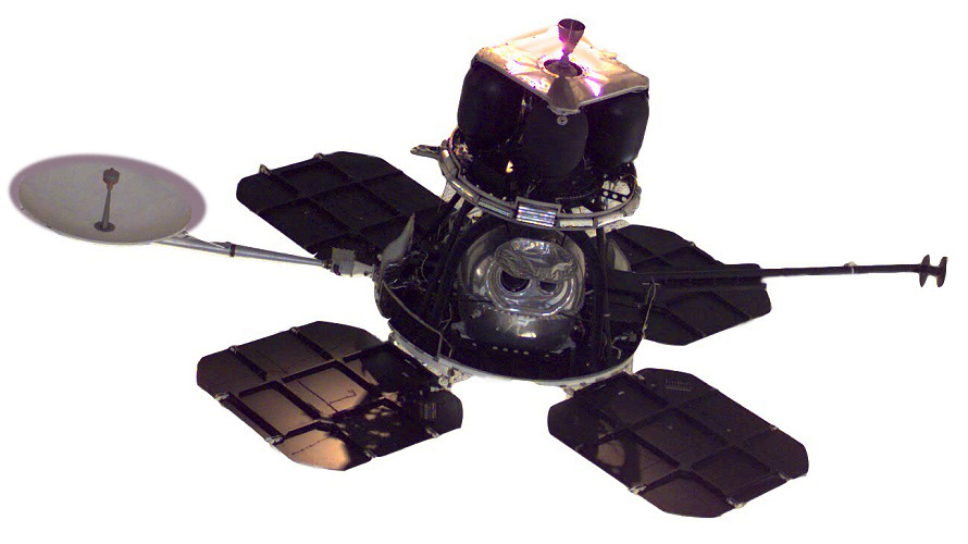 NASA's Lunar Orbiter spacecraft shown without its thermal blankets installed. (NASA)