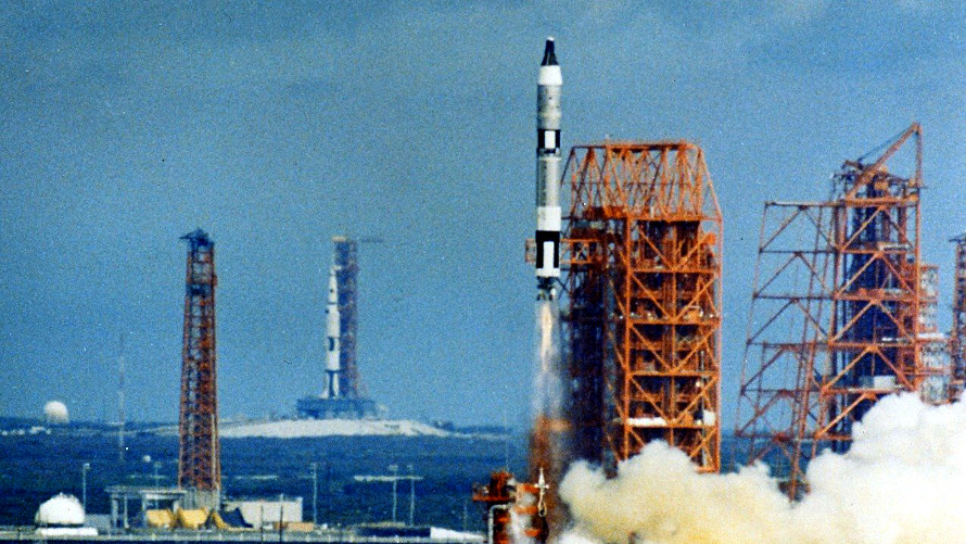 The launch of Gemini 11 from LC-19 at Cape Kennedy on September 12, 1966 with the Saturn 500F facilities test rocket seen at LC-39A in the distance. (NASA)