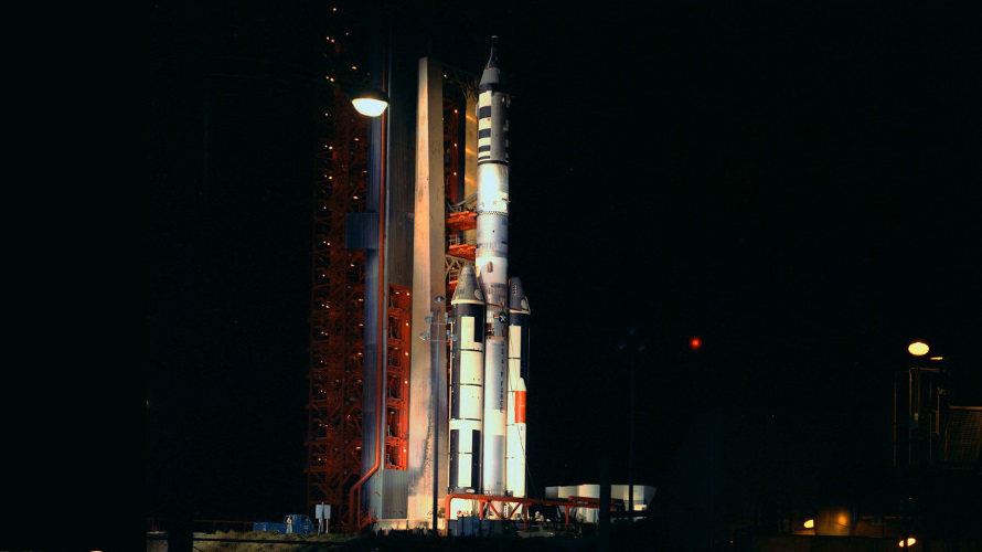 Titan IIIC number 3C-11 shown on the pad at LC-40 before the launch of the MOL test flight with a Gemini B capsule. (NASA)