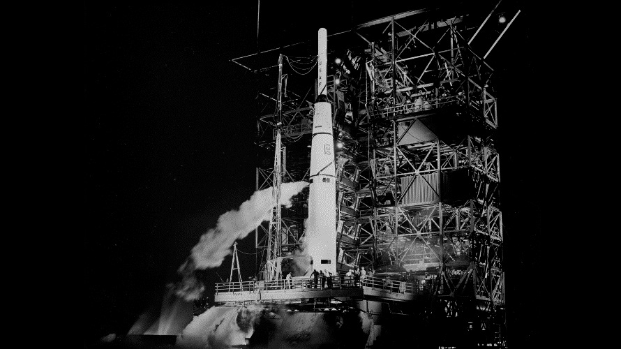 The second Thor-Able 1 rocket being prepared to launch NASA's Pioneer 1 lunar orbiter. (NASA)