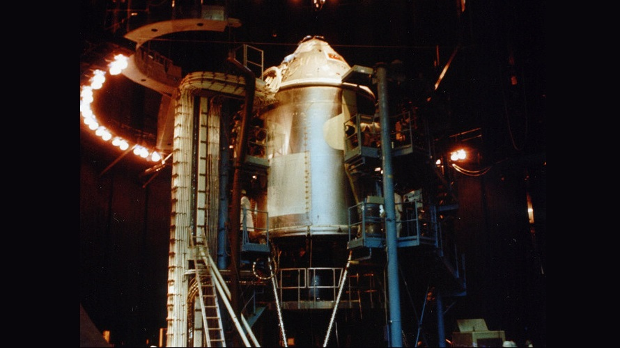 Apollo CSM-008 shown inside of Chamber A at the Space Environment Simulation Laboratory for a series of thermal-vacuum tests in the second half of 1966. (NASA)