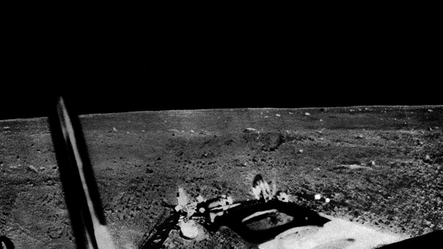 Part of the third panorama returned by Luna 13 on December 27, 1966.