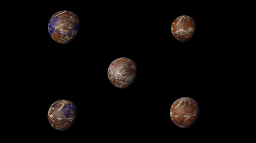 Artist depiction of five habitable planets. (PHL)
